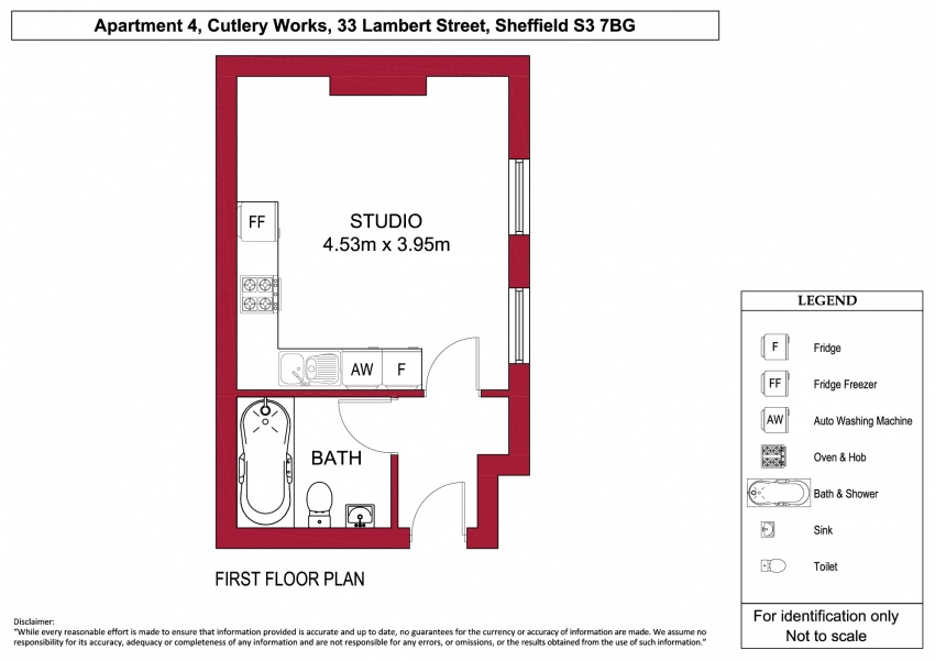 Floor plan for Apartment 4, Cutlery Works, City Centre
