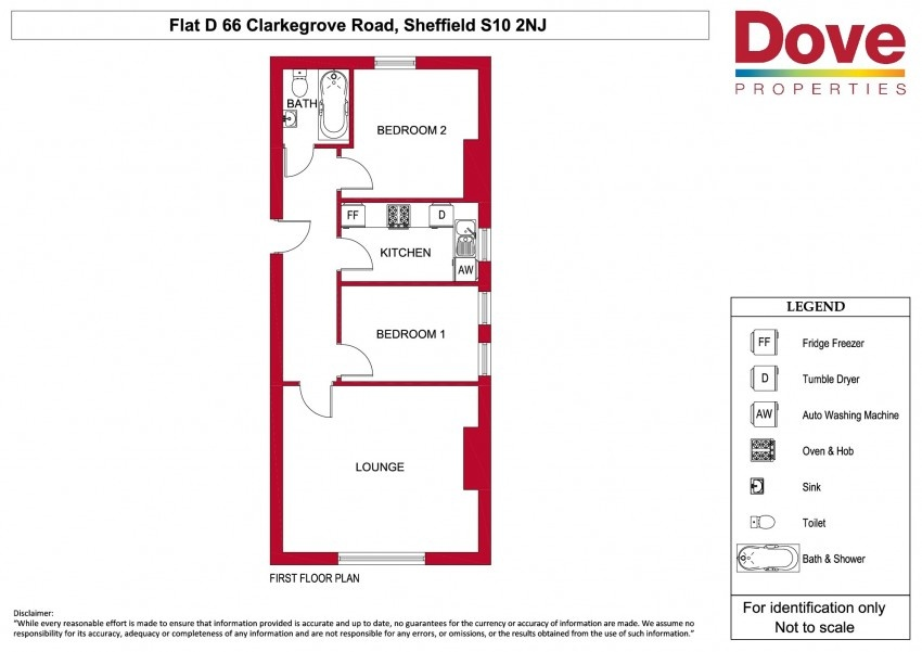 Floor plan for Flat D 66 Clarkegrove Rd, Ecclesall Road
