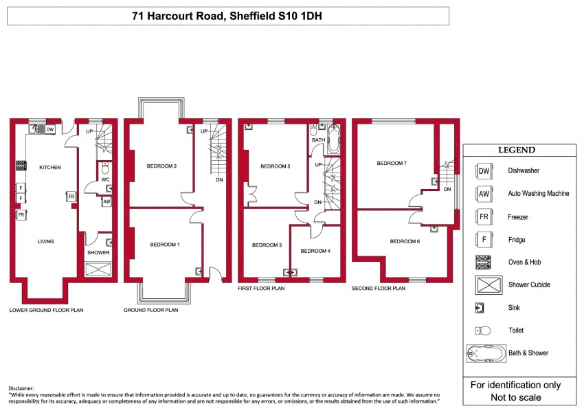 Floor plan for 71 Harcourt Road, Crookesmoor
