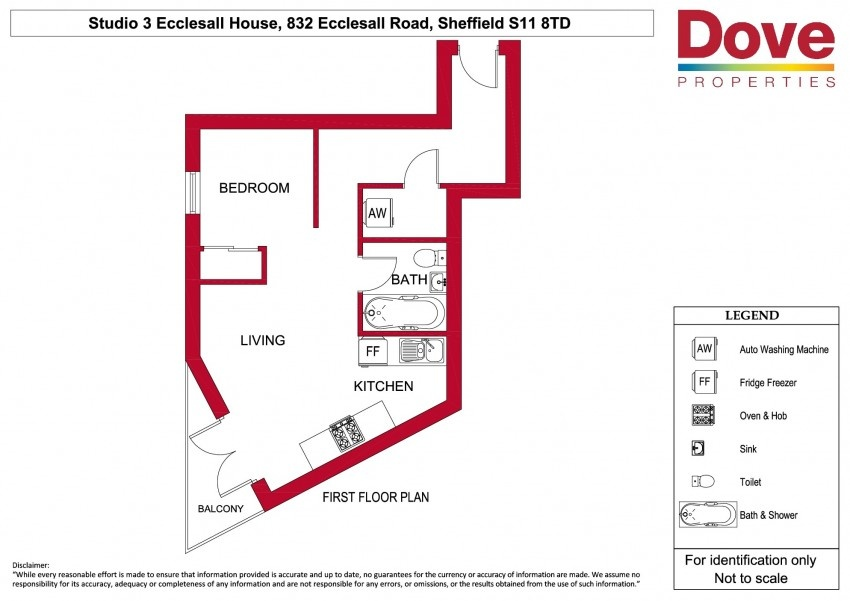 Floor plan for Studio 3, 832-834 Ecclesall Road, Hunters Bar
