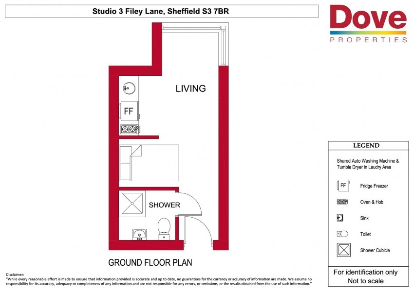 Floor plan for Studio 3, Broomhall House  Filey Lane, Broomhall
