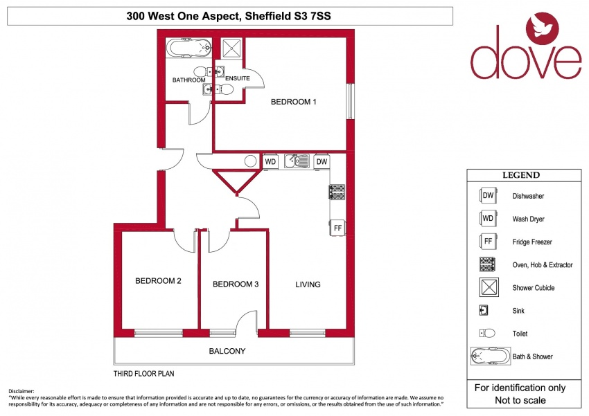 Floor plan for 300 The Aspect, West 1, City Centre