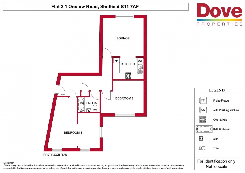 Floor plan for Flat 2, 1 Onslow Road, Hunters Bar