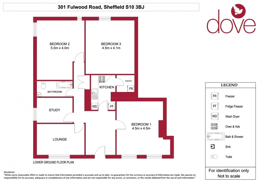 Floor plan for Basement Flat 301 Fulwood Road, Broomhill