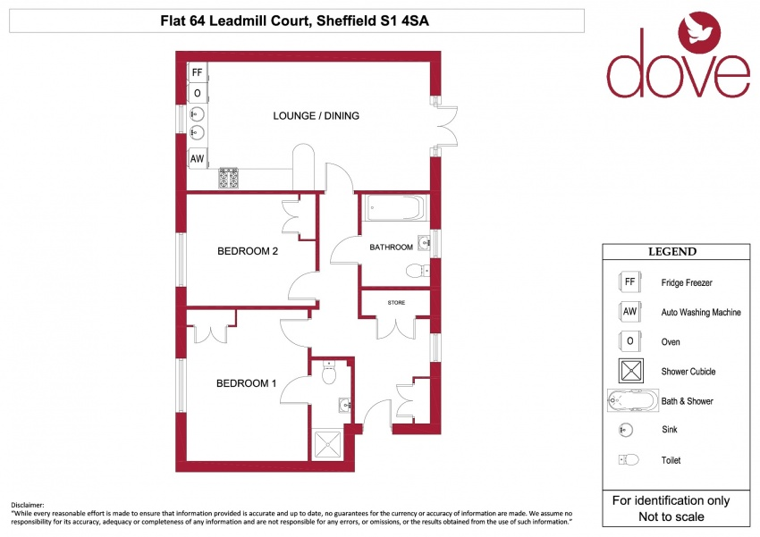 Floor plan for 64 Leadmill Court, City Centre