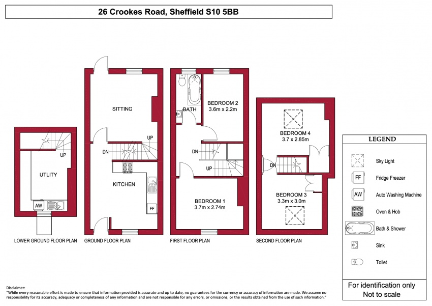Floor plan for 26 Crookes Road, Broomhill