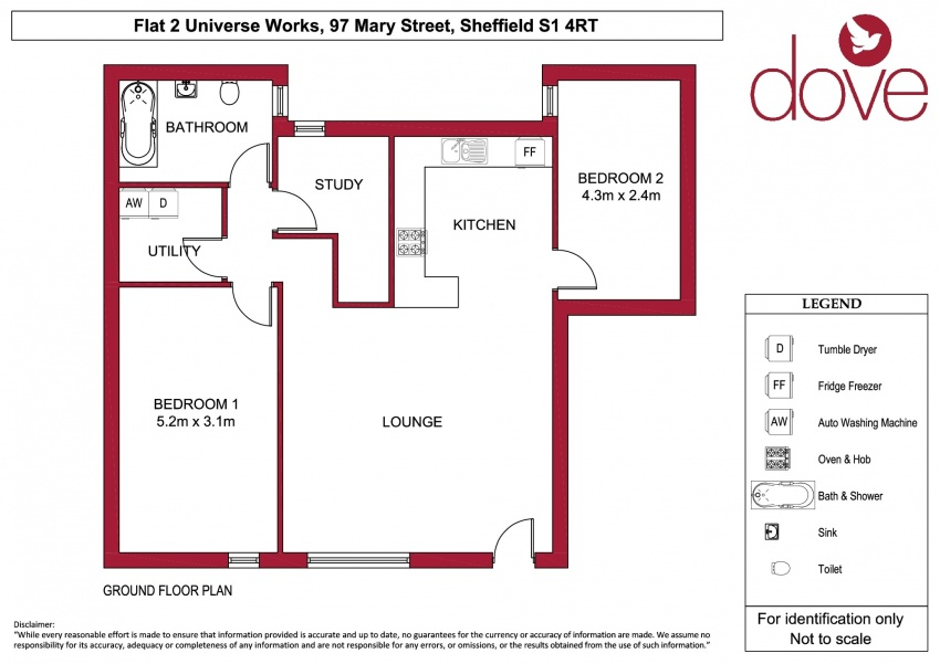 Floor plan for Flat 2, Universe Works, 97b Mary Street, Sheffield